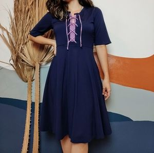 NEW Anthropologie Maeve Lace Up Fit & Flare Dress